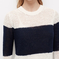 Colorblock Cropped Relaxed Sweater | Ann Taylor