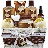 Bath and Body Gift Basket For Women and Men - 9 Piece Set of Vanilla Coconut Home Spa Set, Includes Fragrant Lotions, Extra Large Bath Bombs, Coconut Oil, Luxurious Bath Towel & More : Gateway