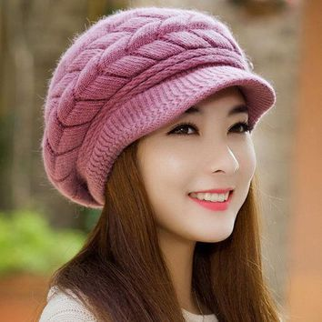 CREYWQA Winter Women Hat Warm Knitted Crochet Slouch Baggy Beret Beanie Hat Cap for women bonnet femme Y1