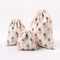 Linen Cute Pink Pineapple Storage Bags