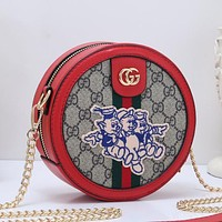 Gucci Women Fashion Pattern Leather Crossbody Bag Shoulder Bag