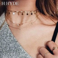 H:HYDE Geometric Circle Star Choker Necklace Gold color Necklaces Pendants Stainless Steel Necklace Women chocker