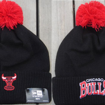 Mitchell & Ness Chicago Bulls Cuffed Pom Knit Beanie Black  [SOLD OUT]