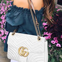 Gucci Trending Women Leather Shoulder Bag Handbag Crossbody Satchel White