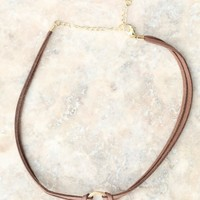 Altar'd State Leather And Gold Choker | Altar'd State