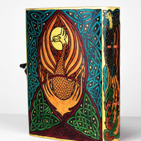5 x 7 Genuine Leather Yellow Colorful Pheonix Bird Blank Journal Sketchbook Cover Design with Latch