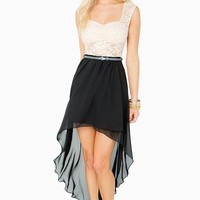 Lace Corset Chiffon Hi Lo Dress