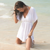 Beach Dress Cover ups Cotton V-neck Bikini Cover Up Women Swimsuit Cover up Beachwear Tunic Sarong Bathing Suit Coverups