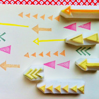 geometric rubber stamps.  hand carved rubber stamp.  hand carved stamp. arrows/triangles. set of 5.