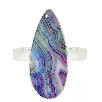 Multi Colored Botswana Agate Sterling Silver Ring