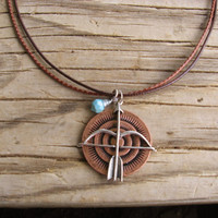 """Tribal Necklace - Bow and  Arrow Pendant - Wire Wrapped Faux Turquoise Charm - Length Adjustable to 19"""""""