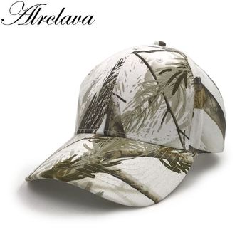Trendy Winter Jacket Hunting Real Tree Camouflage Baseball Cap Men's Snapback Snow White Hats For Hunting Fishing Outdoor Sports AT_92_12