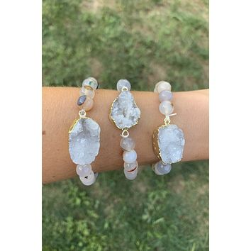 Tourmalinated Quartz Druzy Bracelet #K1031