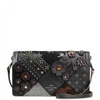 Coach Embellished Canyon Quilt Foldover Crossbody Glovetanned Leather