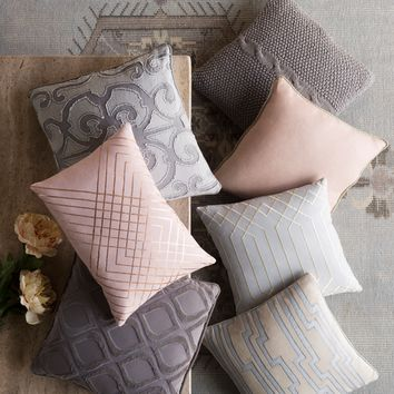 Genevieve Cable Knit Throw Pillow - Grey