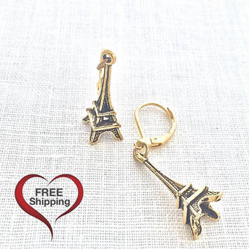 Eiffel Tower Earring, Paris France, Leverback Earring, Fashion Jewelry, Romantic Gift for Girlfriend, Paris Travel, Architecture, 601