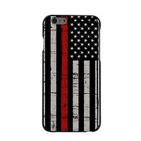 DistinctInk® Hard Plastic Snap-On Case for Apple iPhone - Weathered Thin Red Line