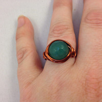 Brown Copper Filled Wire Ring With One 12mm Faceted Aventurine Stone Bead