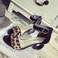 Summer Fashion Multicolor Leopard Buckle Band Sandals  Women Thick Heel Heels Shoes