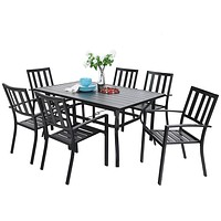 """PHIVILLA 7 Piece Metal Outdoor Patio Dining Bistro Sets with Umbrella Hole - 60.2"""" x 37.8"""" Rectangle Patio Table and 6 Backyard Garden Outdoor Chairs, Black"""