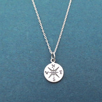 Compass, Sterling silver, Neclace, Birthday, Best friends, Sister, Gift, Jewelry