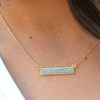 LaRue Bar Necklace- Mint Druzy