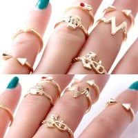 1 Set 6PCS Punk Crystal Anchor Rivet Skull Midi mid Finger Tip Stacking Rings