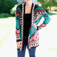 Deep Truth Cardigan - Black, Teal and Coral