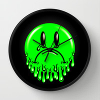Slimey - neon green Wall Clock by chobopop