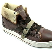 Mens Rocus Cap Toe Lace Up High Top Sneakers Boots GF-03 Brown