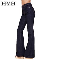 HYH HAOYIHUI Women High Waist Vintage Bell Sexy Deep Black Casual Wide Leg Jeans Elegant Pocket Button Flare Pants