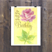 Happy Birthday Card for Wife - Love to My Wife - 1970s Retro Greeting Card Paper Ephemera - 70s Romantic Note From Husband, Yellow With Rose