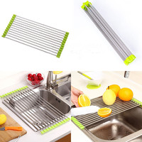 New Folding Stainless Steel Dish Sink Rack Dishes Fruit Fish Cutlery Drainer Drying Holder Useful Kitchen Tools