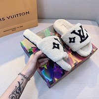 Louis Vuitton LV Printed matching letters flat-soled household open-toed slippers
