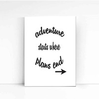 Adventure print, Typography Poster, Travel art, Home decor, Wabderlust Handwritten, life poster, wise words, inspirational art, wall decor