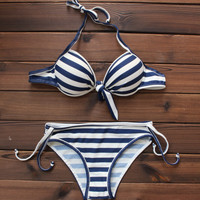 Women's Navy Blue and White Striped Push up Bikini Swimsuits Two Pieces