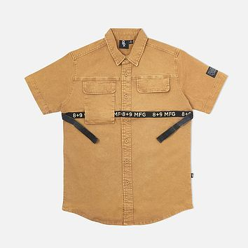Strapped Up Vintage Button Up Shirt Tan