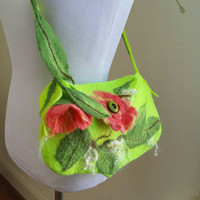 Felted Wool Spring Flower Shoulder Bag. Chartreuse and Salmon Boho Felted Purse With 3D Blossoms and Leaves. Wearable Art Tote. Fairy Bag.