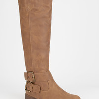 Yoki Tall Two Buckle Womens Riding Boots Taupe  In Sizes