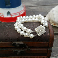 Wedding Ivory Pearl Bracelets Jewelry Accessory with Pearl Claps