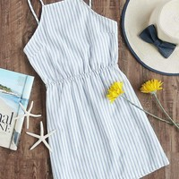 Striped Elastic Waist Knot Back Cami Dress