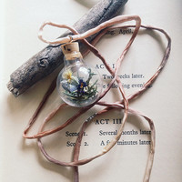 witch bottle necklace - dried flower glass vial necklace - silk cord necklace - protection necklace - witchcraft jewelry - real flowers