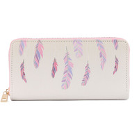FEATHER PRINT VINYL CLUTCH WALLET FAUX LEATHER ZIPPER