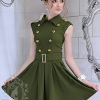 Military Style Army Green Double Breasted Belted Big Hem Career Dress