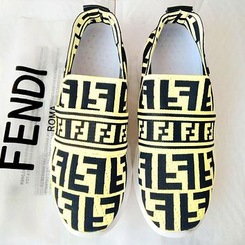 FENDI Newest Fashion Women Leisure Breathable Knit Running Sport Shoes Sneakers Yellow