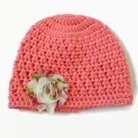 Baby Hat Pink 6-9 Months Infant Floral