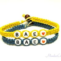 Couples or Friendship Bracelets, Set of Two, BAE, Yellow and Dark Teal Hemp Jewelry