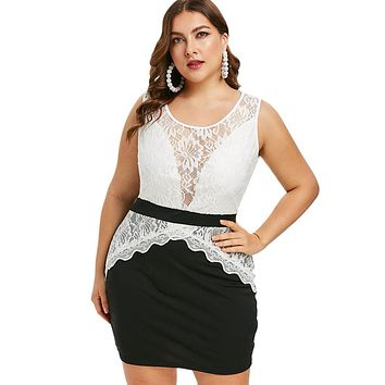 Plus Size Lace Insert Color Block Summer Sleeveless Bodycon Dress