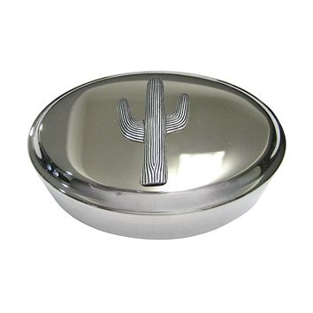 Silver Toned Large Cactus Plant Oval Trinket Jewelry Box