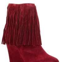 Red Faux Suede Fringe Wedge Ankle Booties